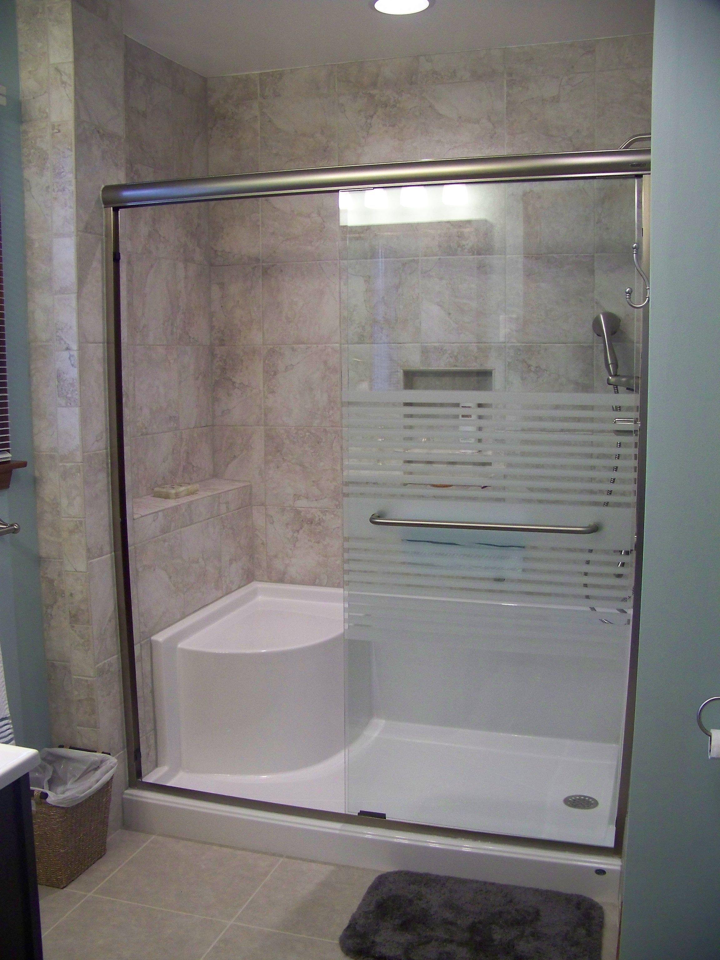 Custom Tile Shower Recessed Niche Sliding Shower Door Bathroom