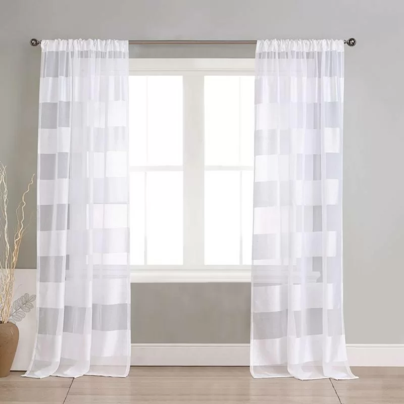 Bovingdon Pole Top Striped Sheer Rod Pocket Curtain Panels With