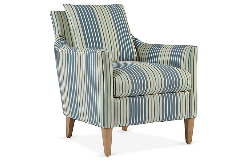 Ines Accent Chair Federal Blue Stripe Blue Sofa Chair Chair Comfy Accent Chairs