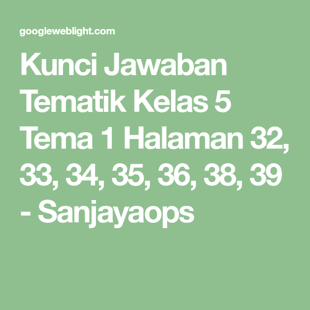Kunci Jawaban Tematik Kelas 5 Tema 1 Halaman 32 33 34 35 36