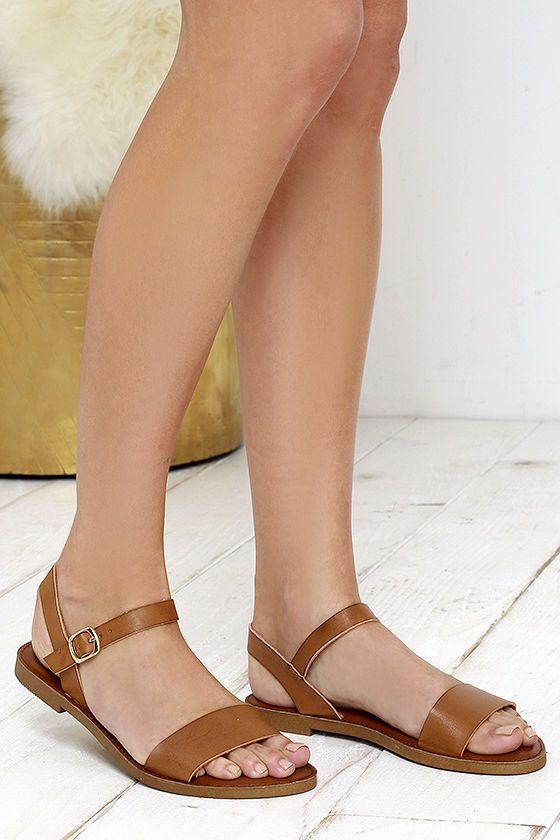 Madden Girl Blurt Cognac Flat Sandals
