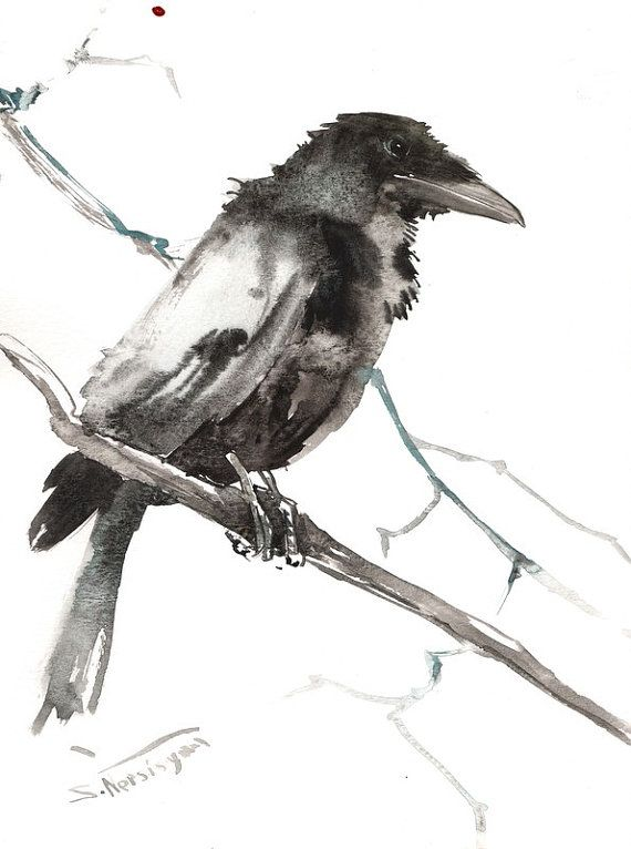 Raven on tree Original watercolor painting 12 X 9 by ORIGINALONLY, $36.00