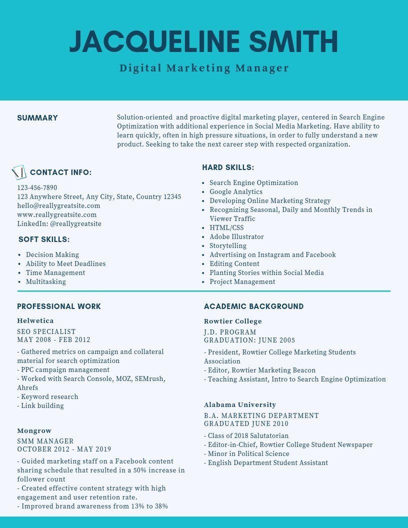 Digital marketing resume sample unique digital marketing