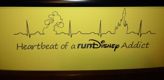 Heartbeat of a runDisney Addict Vinyl wall decor- This is a vinyl decal perfect for any runDisney fanatic! The largest dimension is 8x24 inches.