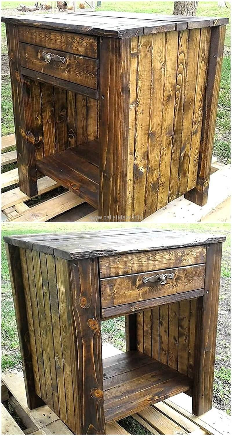 Pallet wood nightstand