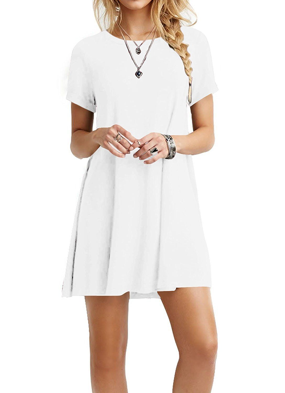 Tinyhi womenus casual plain flowy simple swing tshirt loose dress