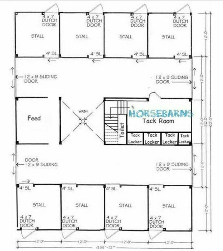 8 Stall Horse Barn Plan Horse Barns Trailers