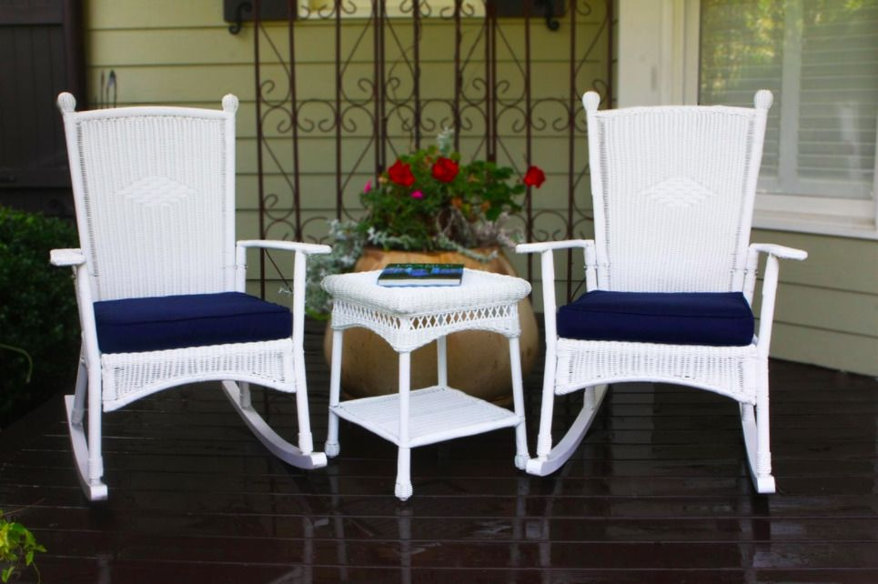 Beau 3 Piece Outdoor Rocking Chair Set White Wicker   Tortuga Outdoor  #TortugaOutdoor