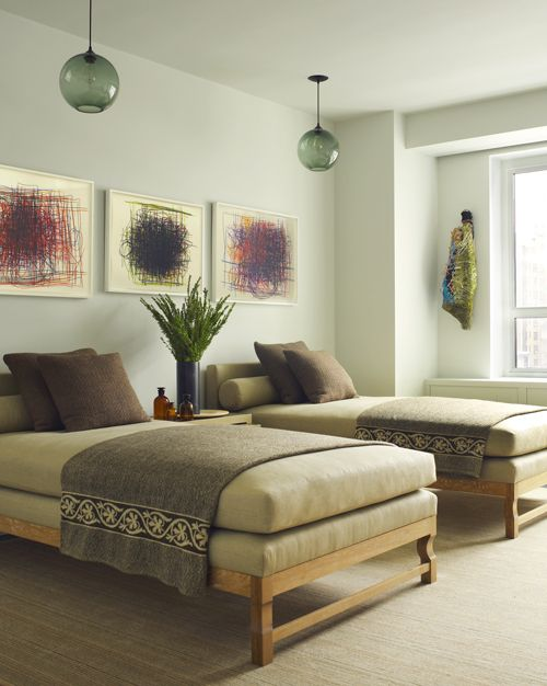 Love these twin beds!!! Manhattan House - HUNIFORD. Perfect lounge beds for a spa like feeling