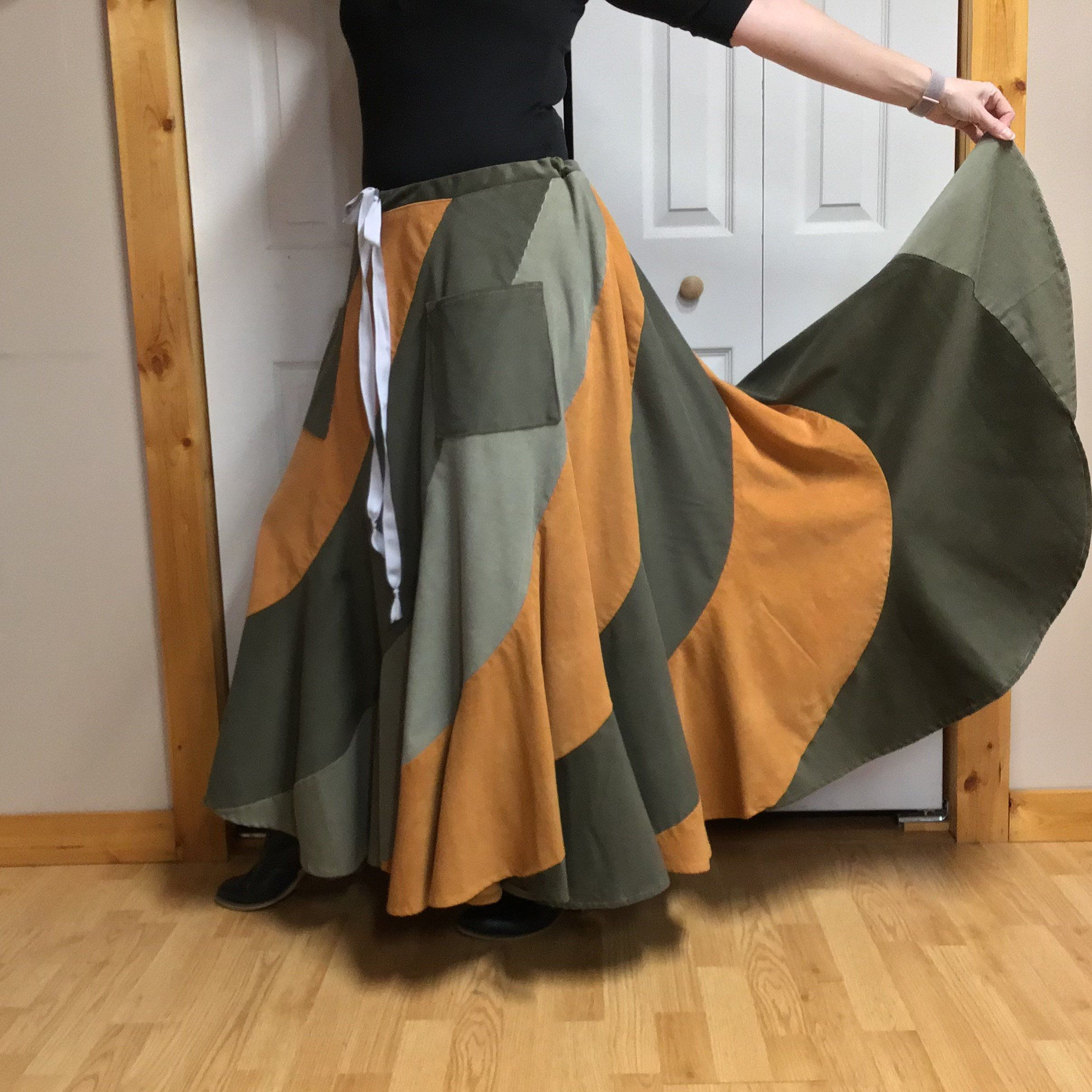 14fd2c9e5 Long Corduroy Skirt, Plus Size Peasant Skirt, Fits XL-1X-2X, Boho Gypsy Hippie  Skirt with Pockets, Green and Gold Womans Winter Clothes