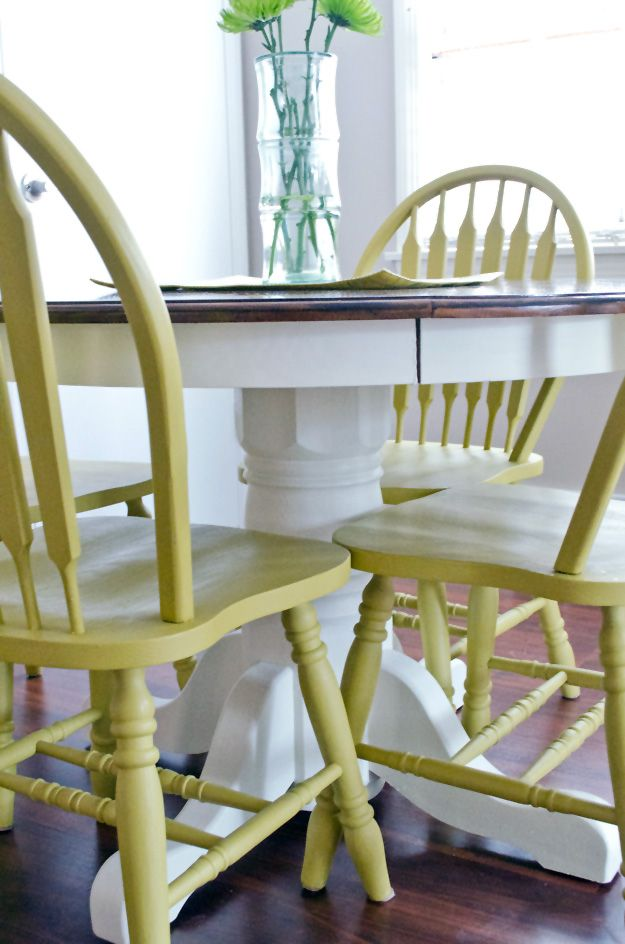 Use diy chalk paint to refinish an old oak table and for Painting dining room furniture ideas