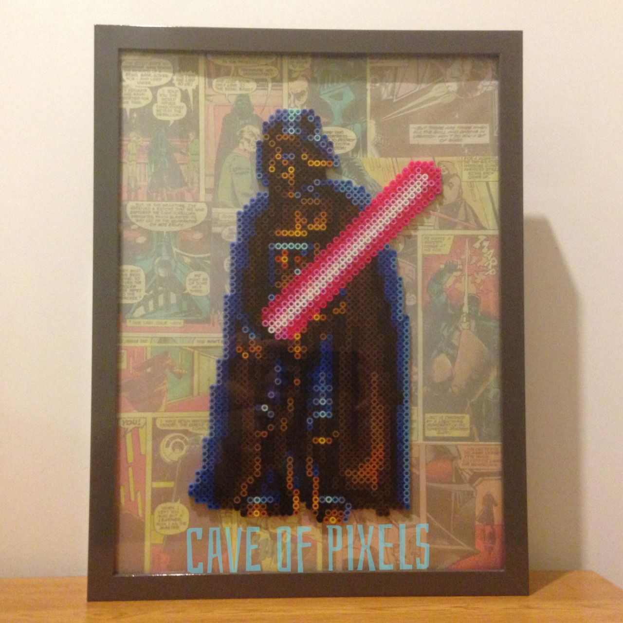 Darth Vader Perler Bead Sprite Framed With Comics Collage