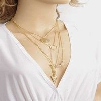 New Women's Fashion Clavicle Chain Necklace Gold Plated Vintage Charm Multilayer Ring Wings Arrows Alloy Pendant Necklace for Women Jewelry Findings Ornament Womens Friendship Creative Bib Chokers Necklaces Accessories Gift for Girl Korea Style