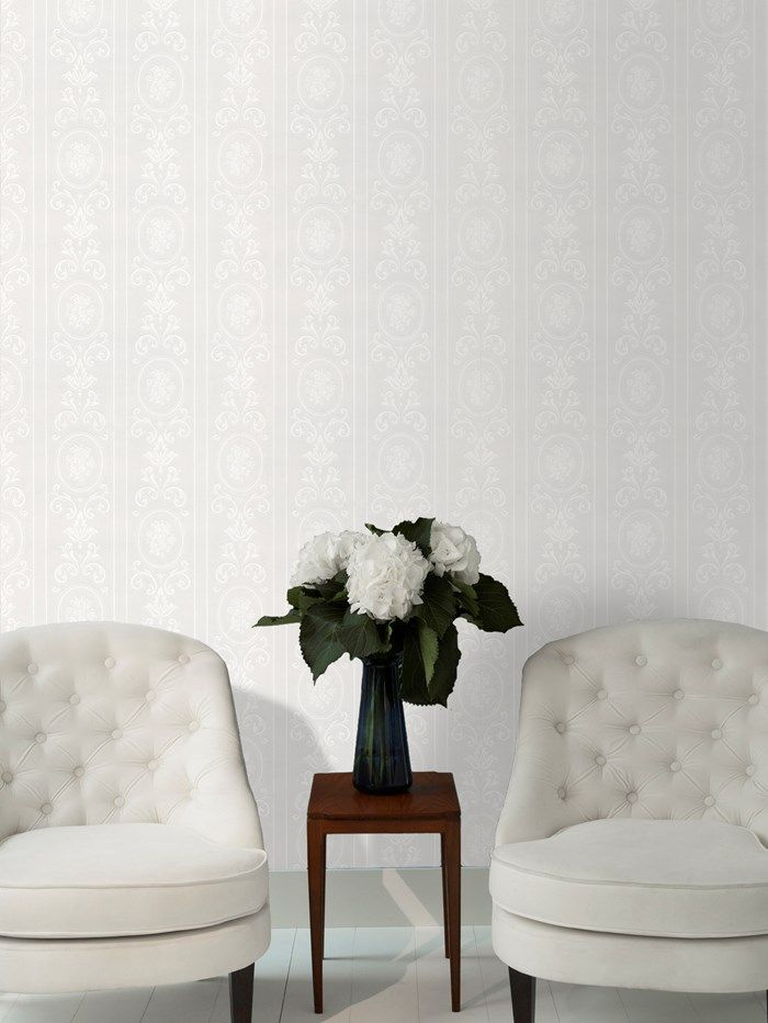 Cameo stripe wallpaper white striped wall coverings by graham brown paintable