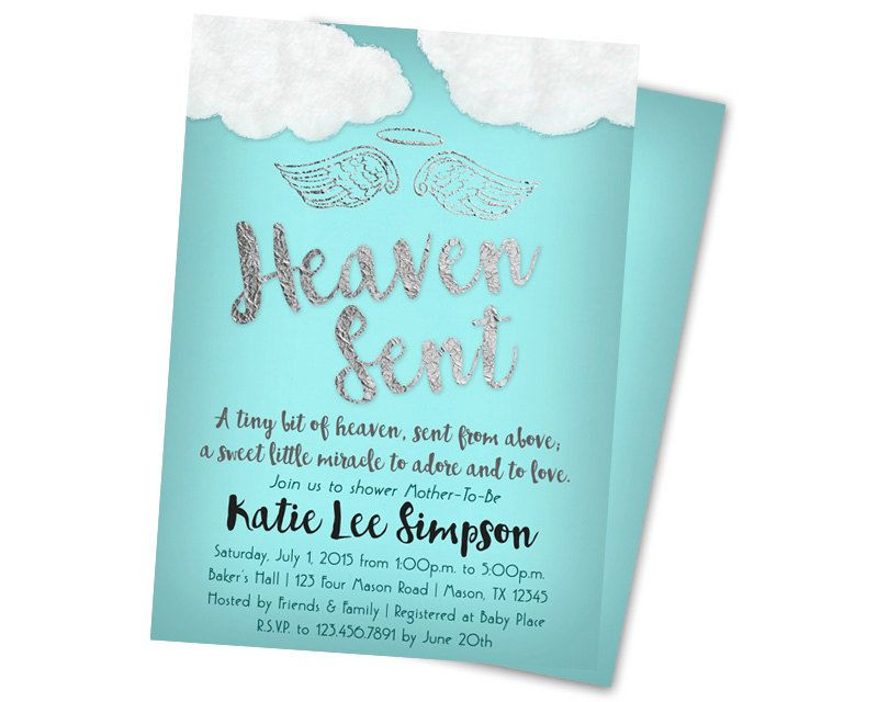baby shower invitation for twins%0A Heaven Sent Baby Shower Invitation Boy Baby by PartyPrintExpress