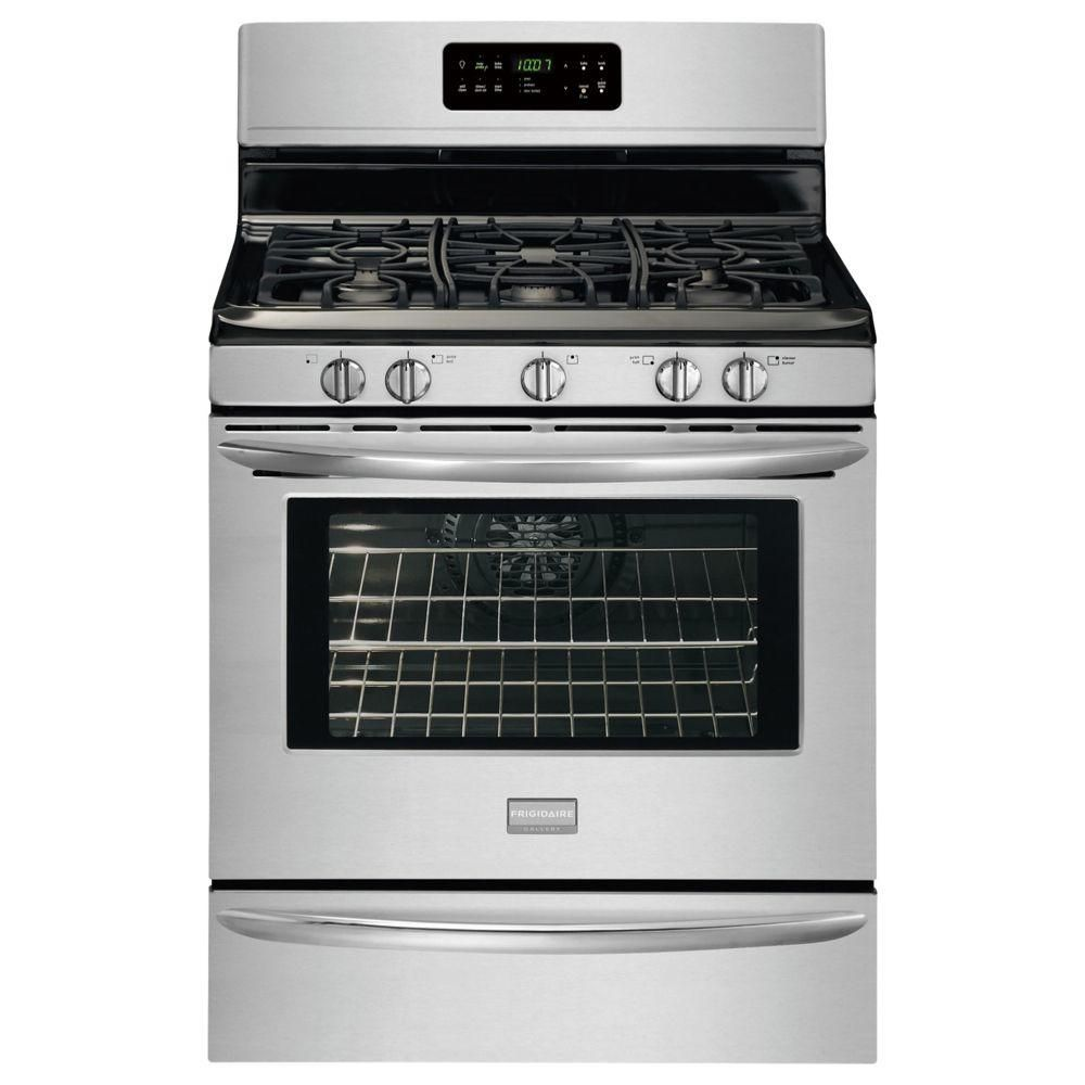 Frigidaire Gallery 30 In 5 0 Cu Ft Gas Range With Self Cleaning Convection Oven In Stainless Steel Fggf3032mf The Home Depot Frigidaire Gallery Self Cleaning Ovens Oven Cleaning