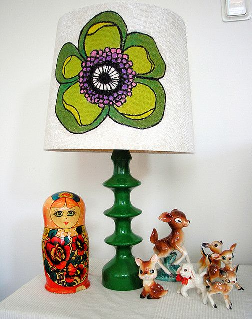 applique vintage fabric on a lampshade