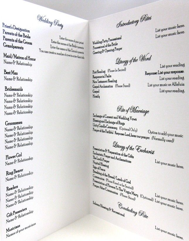 Catholic wedding program idea clean and simple layout for Wedding blessing order of service template