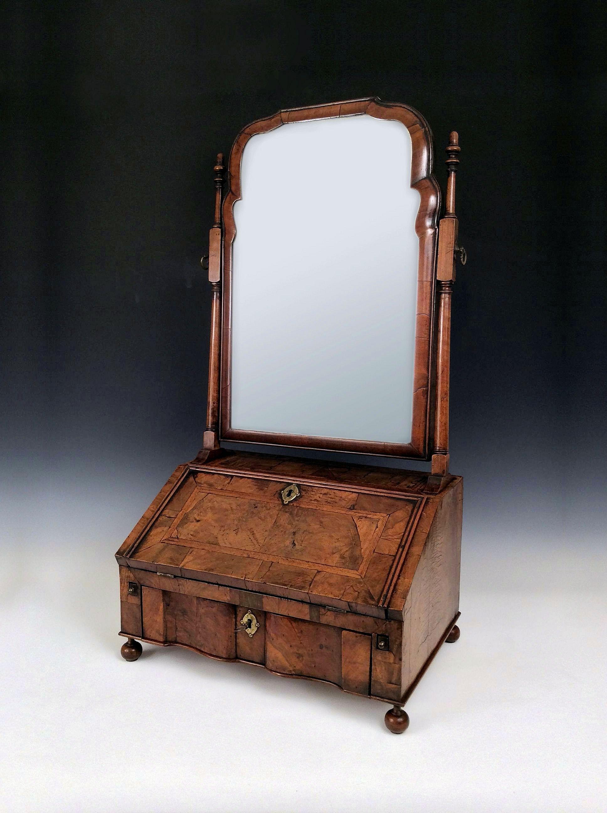 Rare Antique Queen Anne Walnut Table Bureau Dressing
