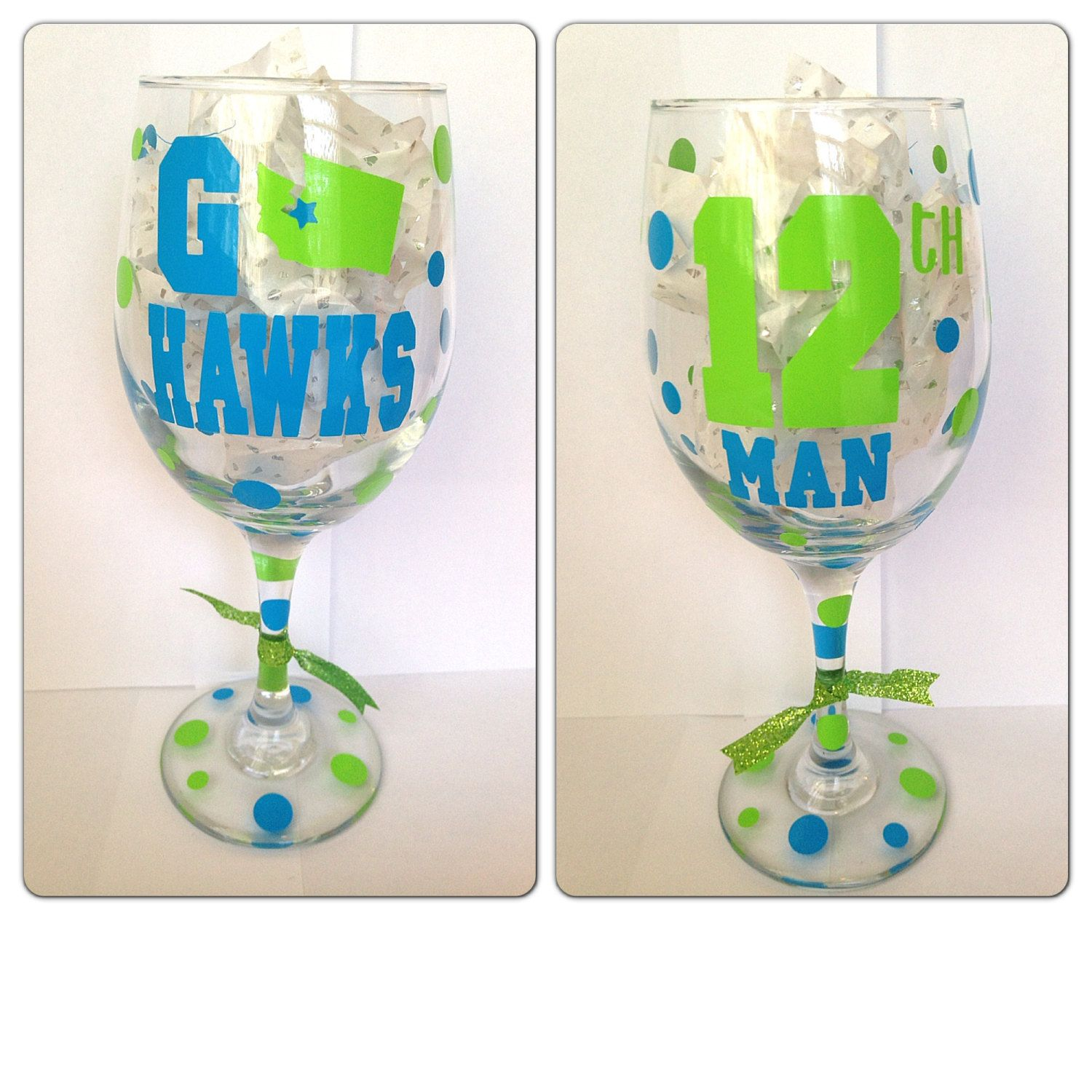 Seattle Seahawks Wine Glass 12th man.. can by CreateBeautywithLove, $20.00