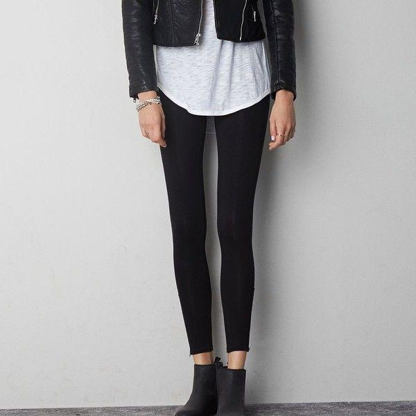 American Eagle Hi-Rise Side Zip Legging ($15) ❤ liked on Polyvore featuring pants, leggings, true black, slim fit pants, black leggings, side zip leggings, side zip pants and american eagle outfitters