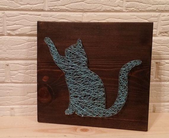Cat string art feline string art kitten playing cat for String art patterns animals