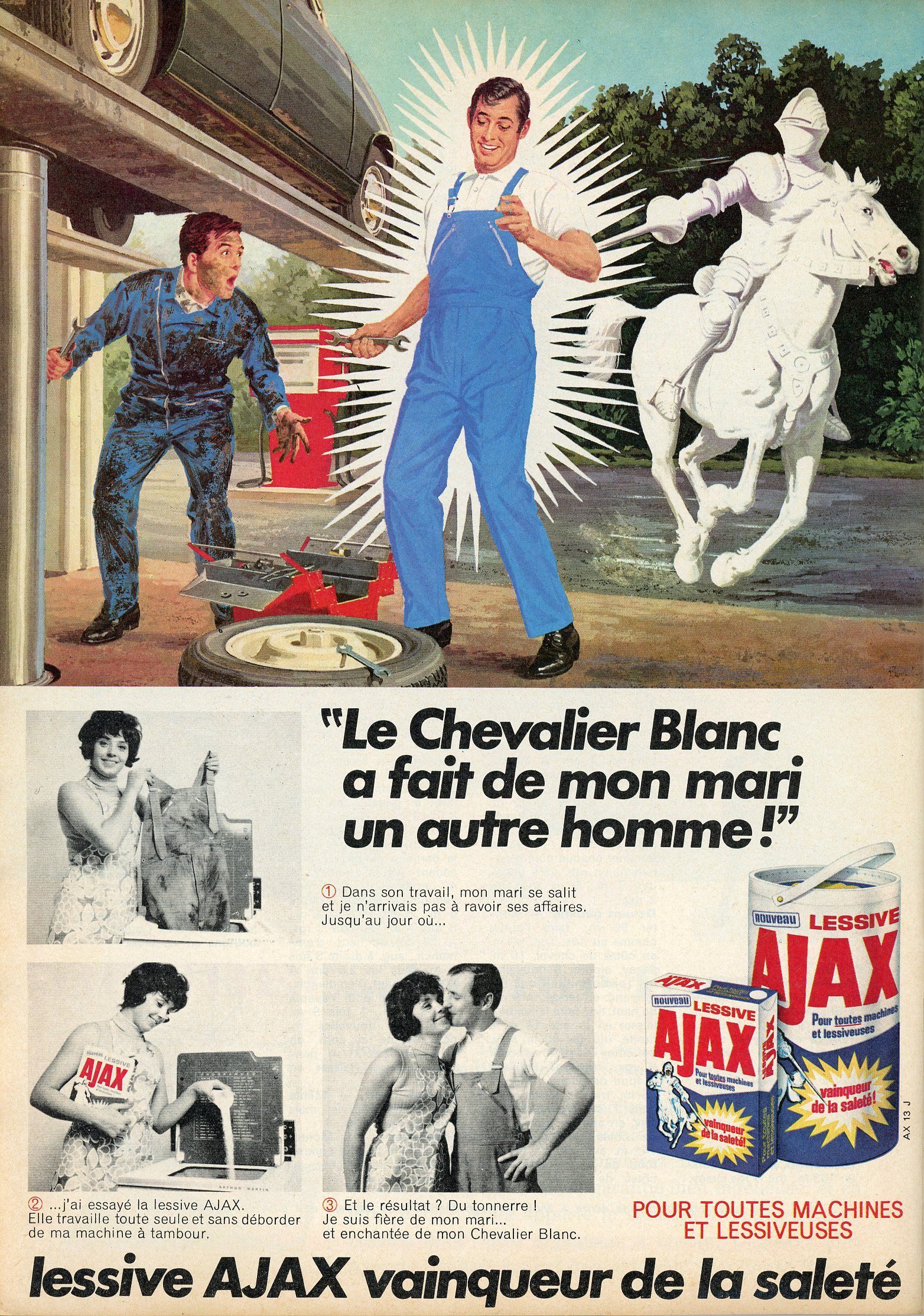 1968 magazine mon ouvrage madame pub pour la lessive ajax le chevalier blanc a fait de. Black Bedroom Furniture Sets. Home Design Ideas