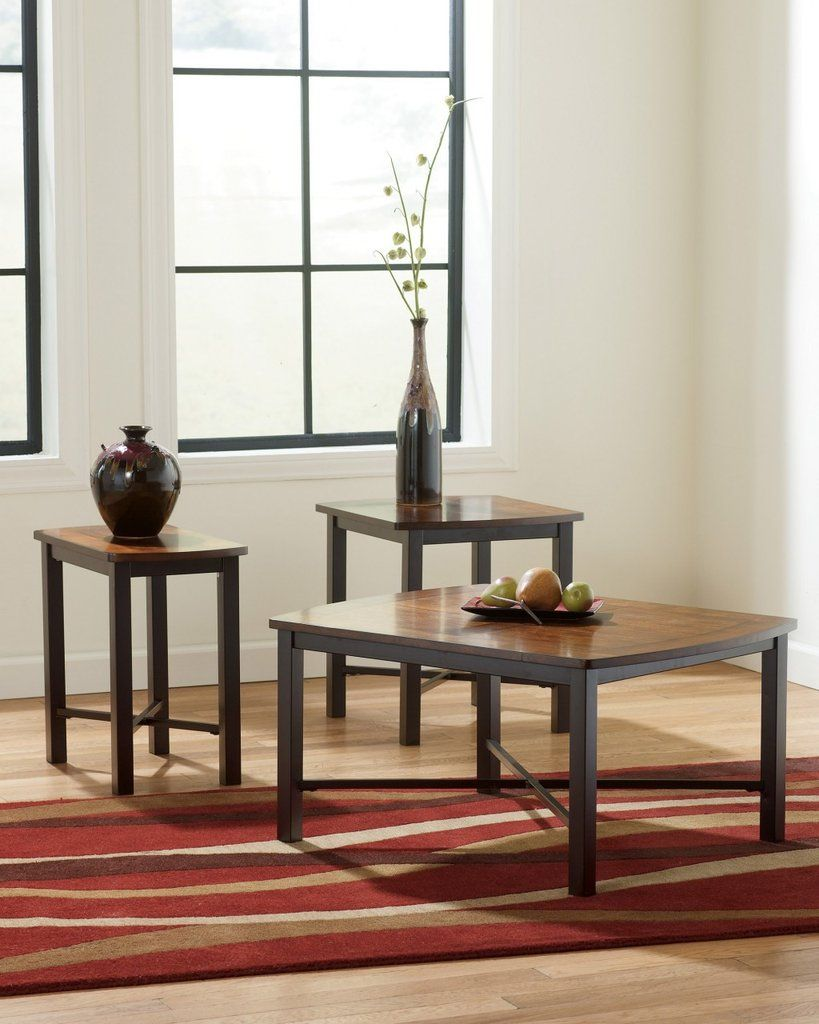 Fletcher Birch and Cherry Coffee Table Set by Ashley Furniture ...