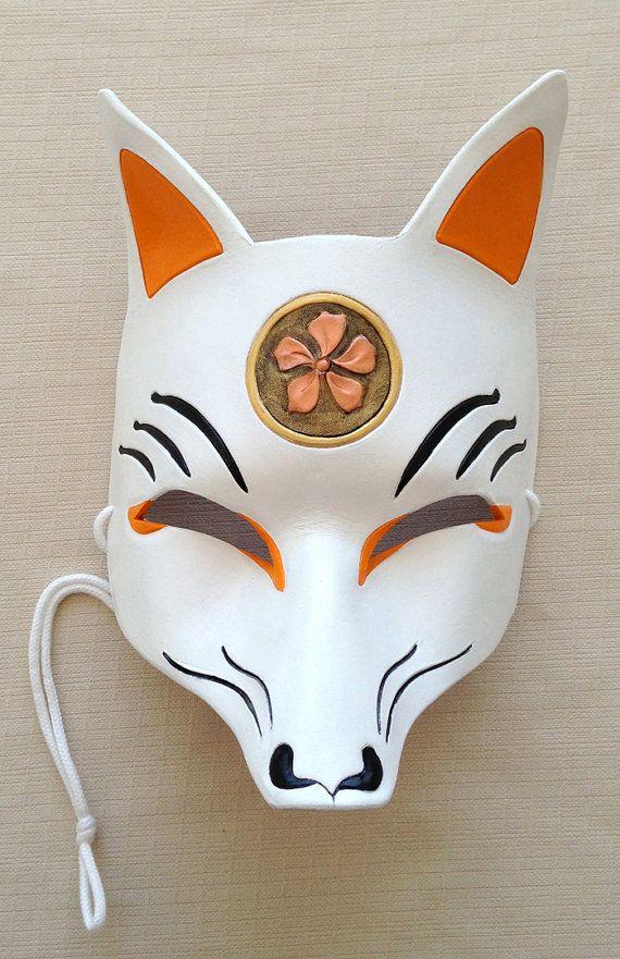Leather Mask Japanese Smiling Kitsune Fox Orange Kitsune Mask Kitsune Japanese Mask