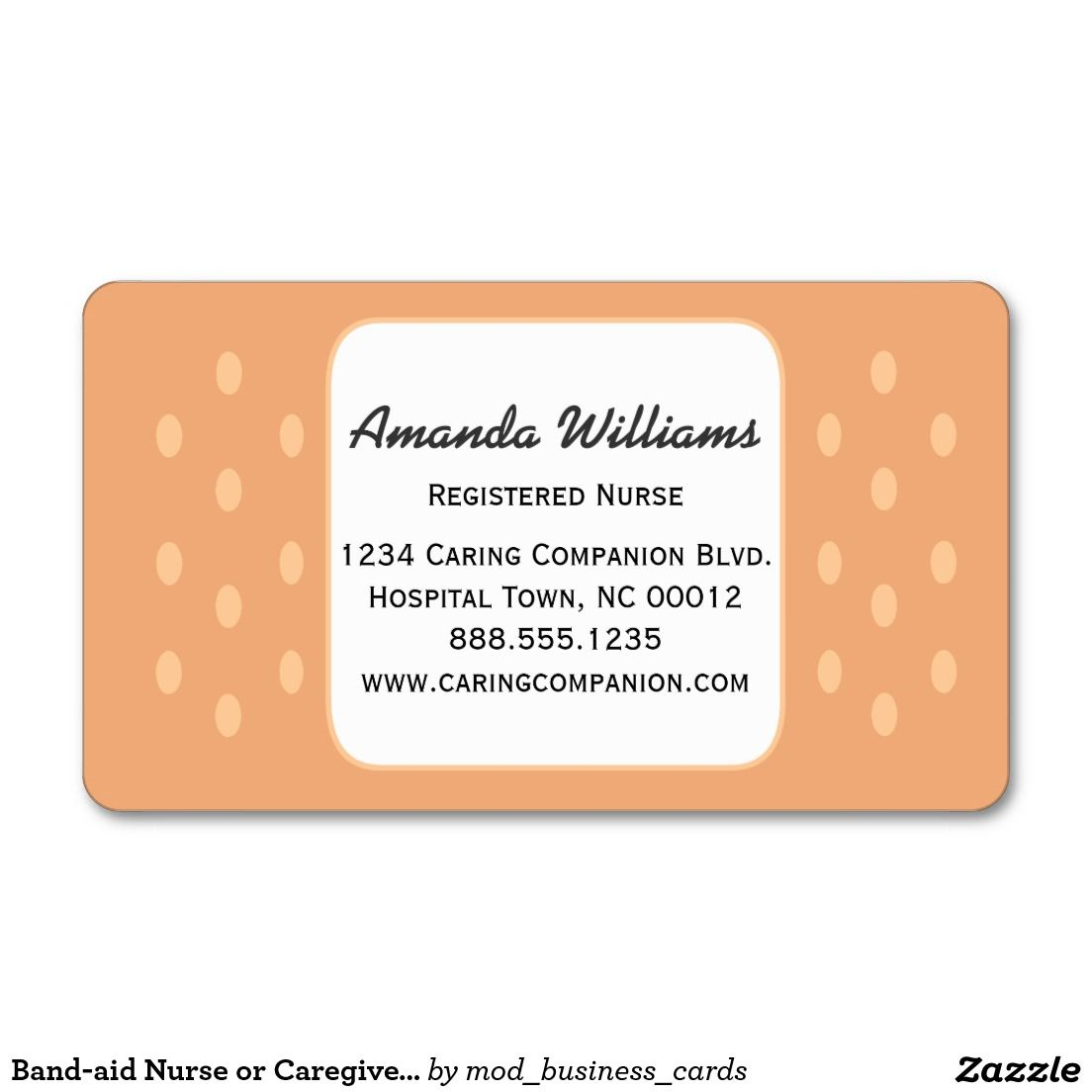 Band-aid Nurse or Caregiver Business Card | Caregiver, Nurses and ...