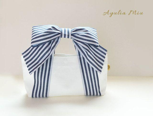 リボントート* mignon (ネイビーストライプ×ホワイト帆布) | ハンドメイド、手作り作品の通販 minne(ミンネ)