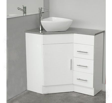 Corner Vanity With Caesarstone Top 600mm X 900mm Rh Drawer