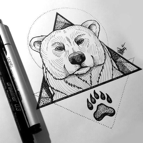 Bear Head And Paw In Triangle Tattoo Design En 2020 Dessin D