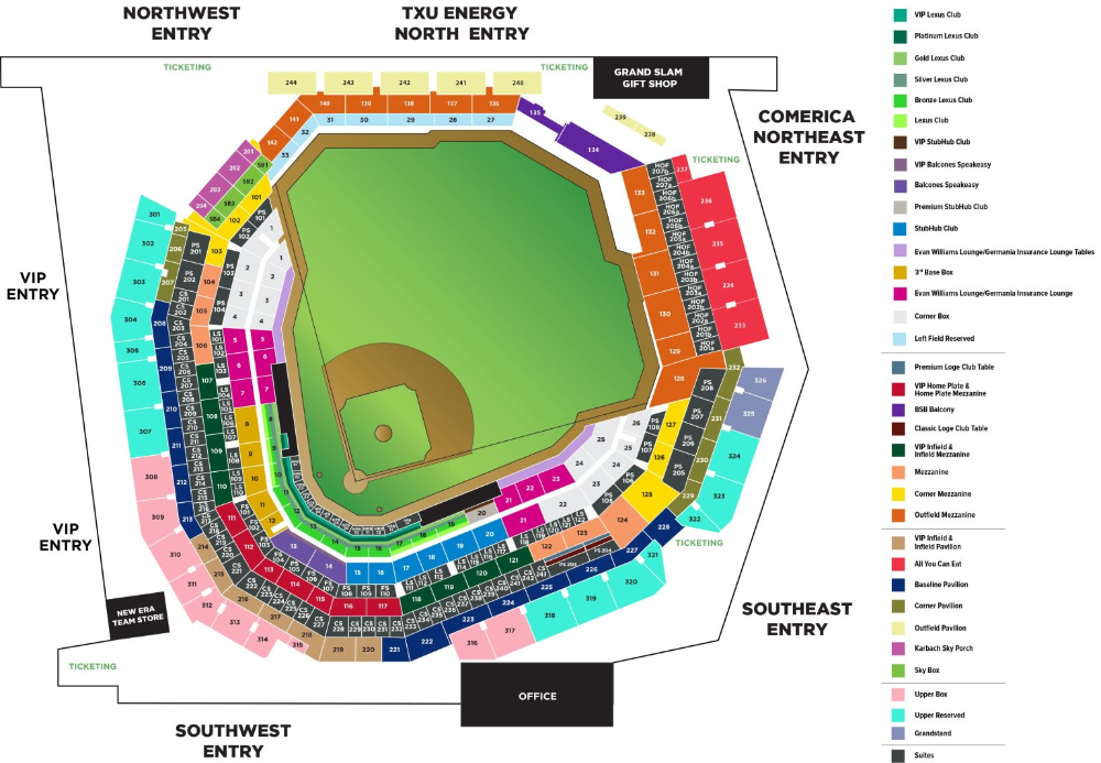 See The Globe Life Field Seating Chart Including Seating Sections With Some Amount Of Netting Or Screening In Front In 2020 Life Globe Map