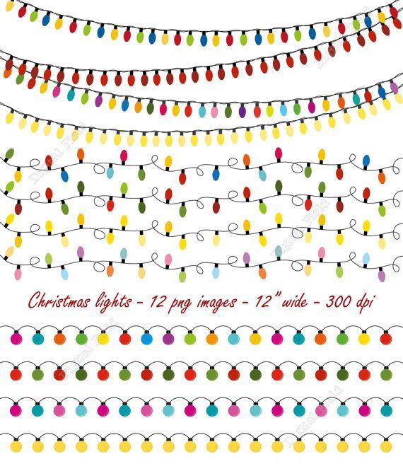 Christmas lights clip art set - string lights - holiday ...