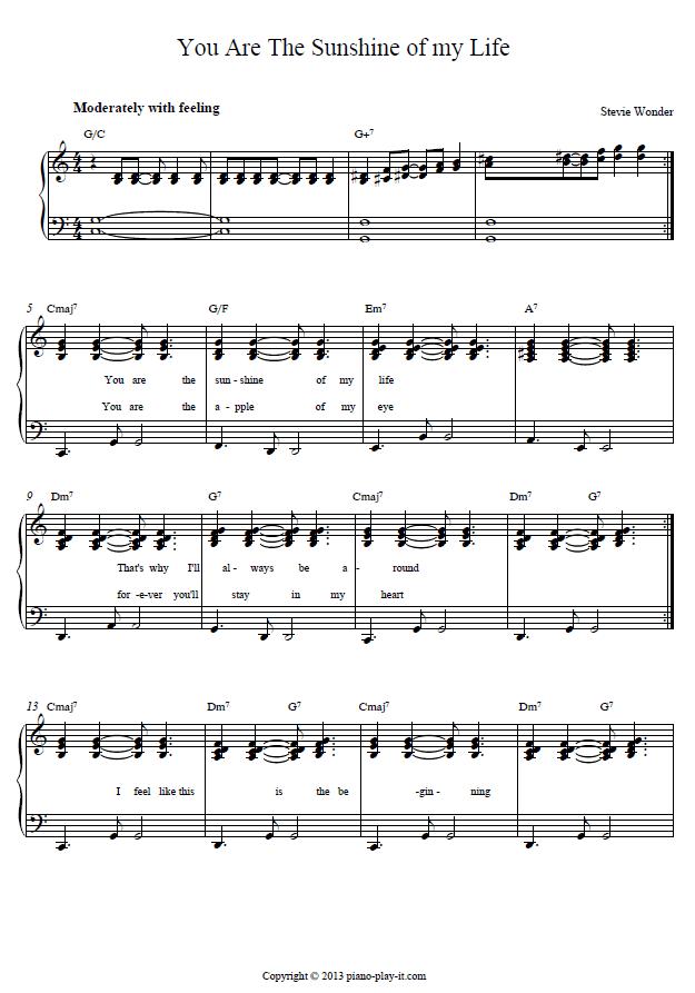 Piano piano tab sheet music : You are the Sunshine of my Life Piano Tab | Piano Sheets ...