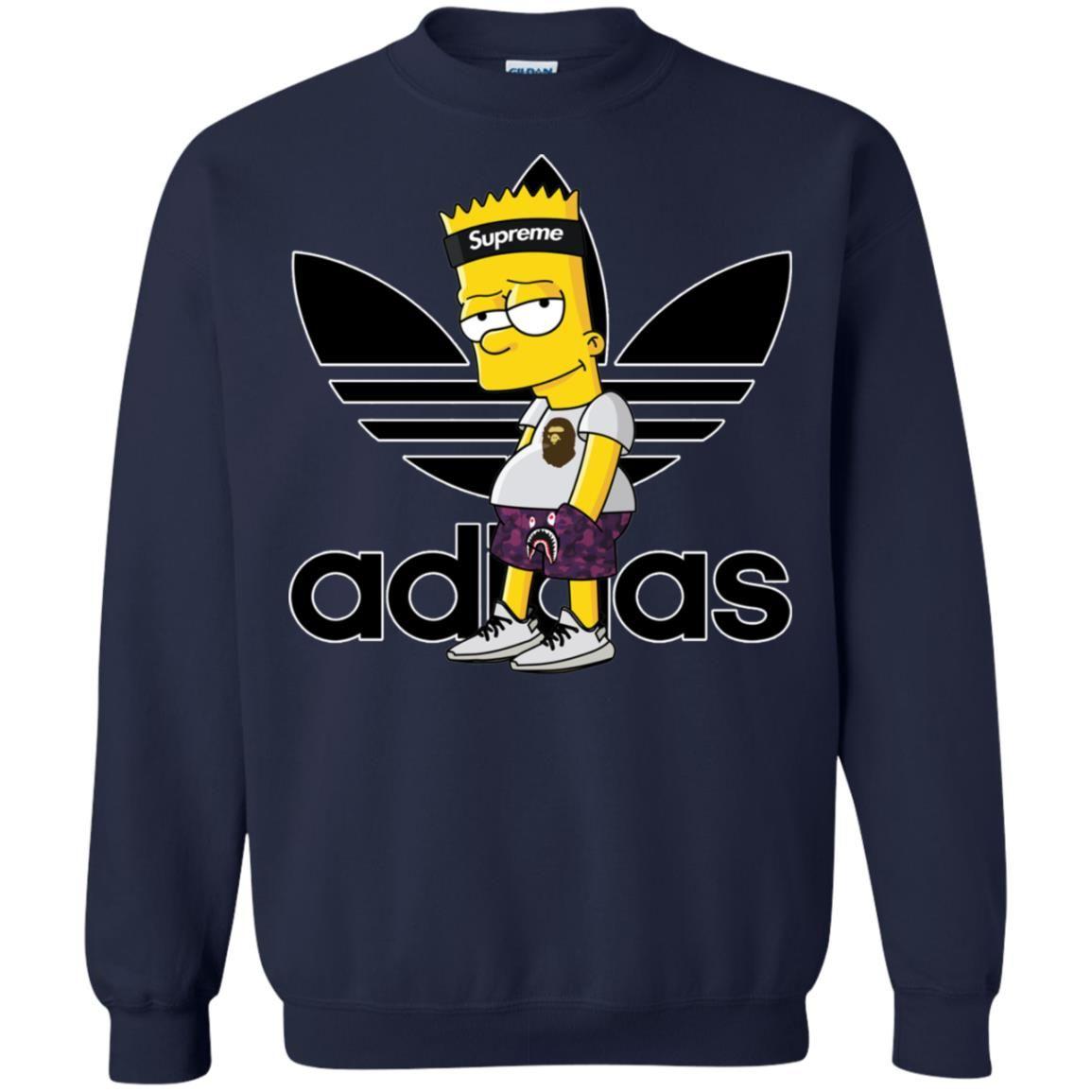 Adidas Bart Simpson Pullover Sweatshirt The Geek Gifts Sweatshirts Pullover Sweatshirt Kids Pullover Hoodie [ 1155 x 1155 Pixel ]