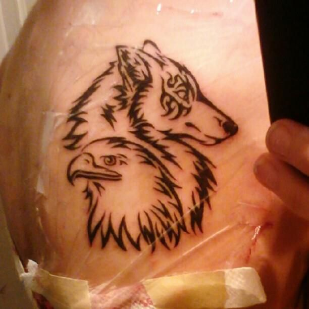 my tattoo on my left shoulder wolf for me and eagle for my dad tattoos pinterest wolf. Black Bedroom Furniture Sets. Home Design Ideas