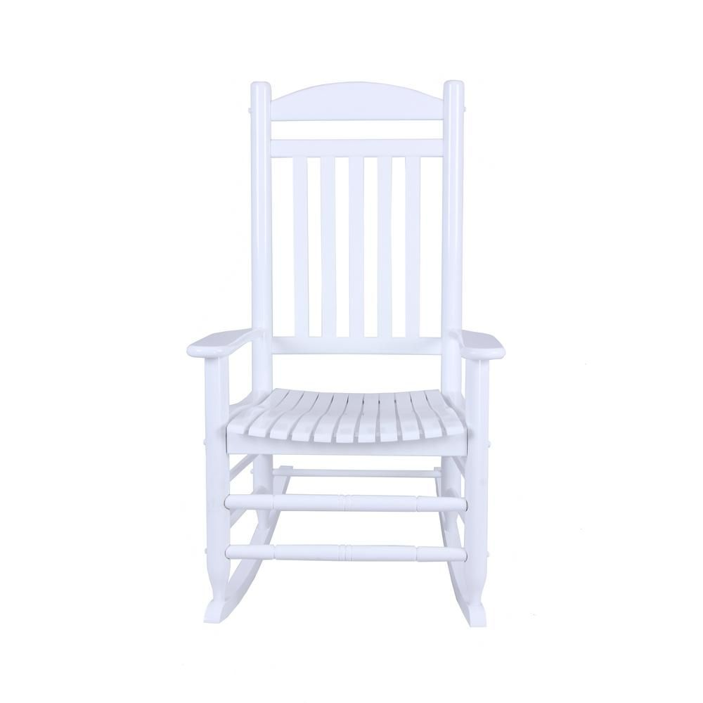 Astonishing Hampton Bay Glossy White Wood Outdoor Rocking Chair It Pdpeps Interior Chair Design Pdpepsorg