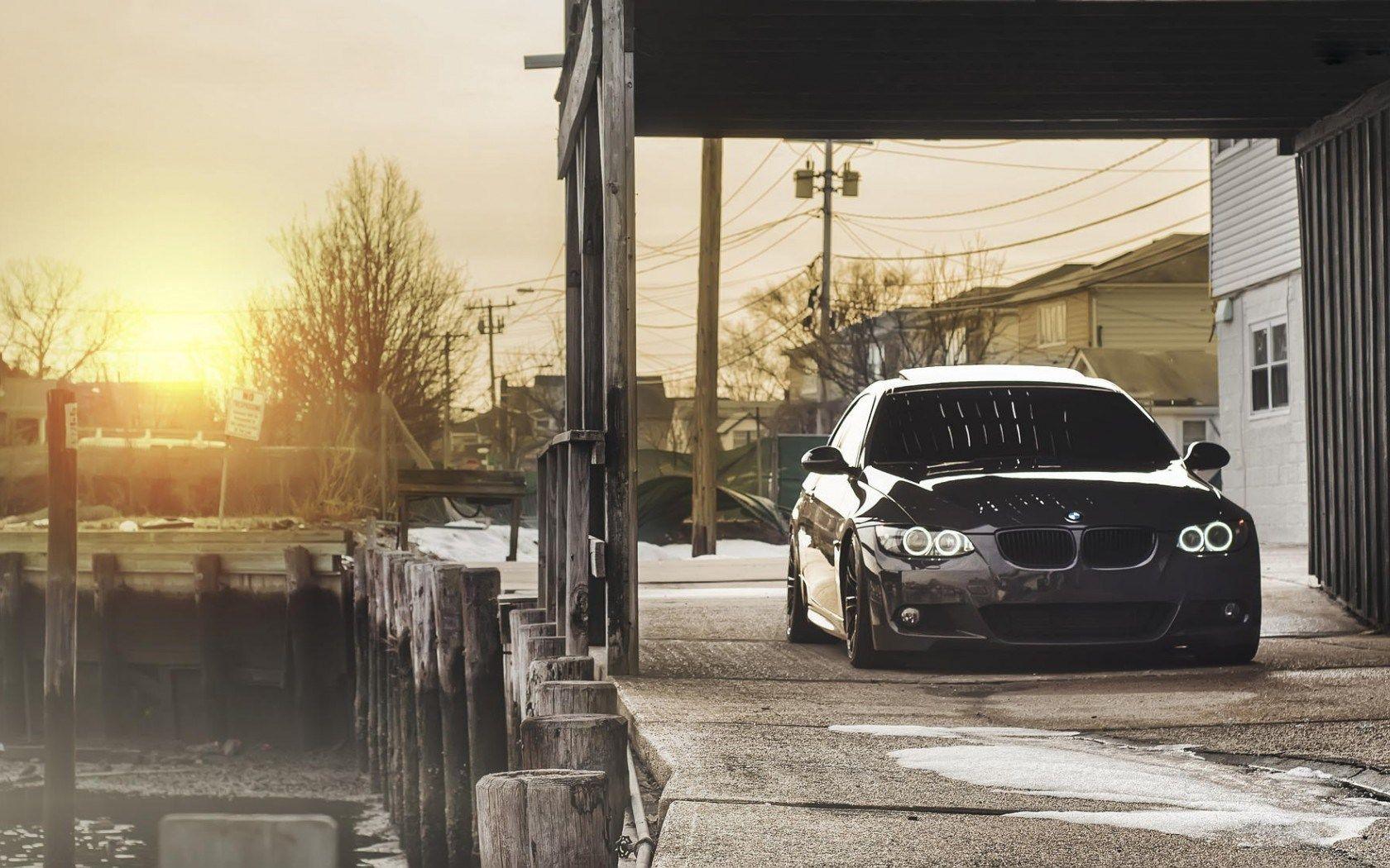 BMW 328i e90, voiture, devant, coucher de soleil | best ...