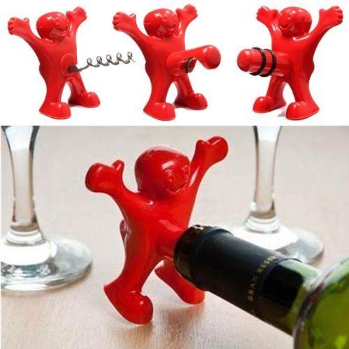 3x Funny Happy Red Man Novelty Wine Bottle Stopper Bottle Opener Corkscrew
