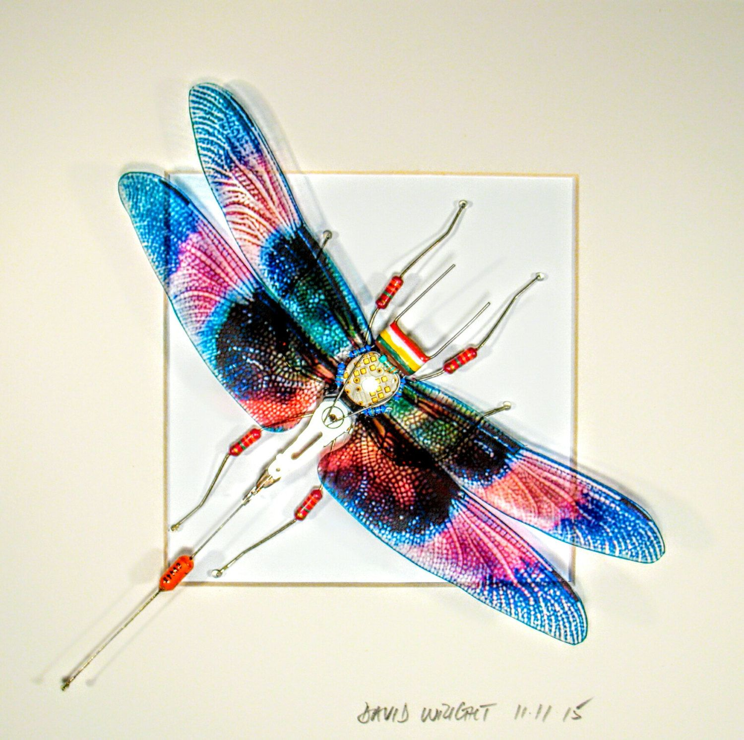 Dragonfly Wall Art dragonfly wall art - recycled circuit board bug - framed art