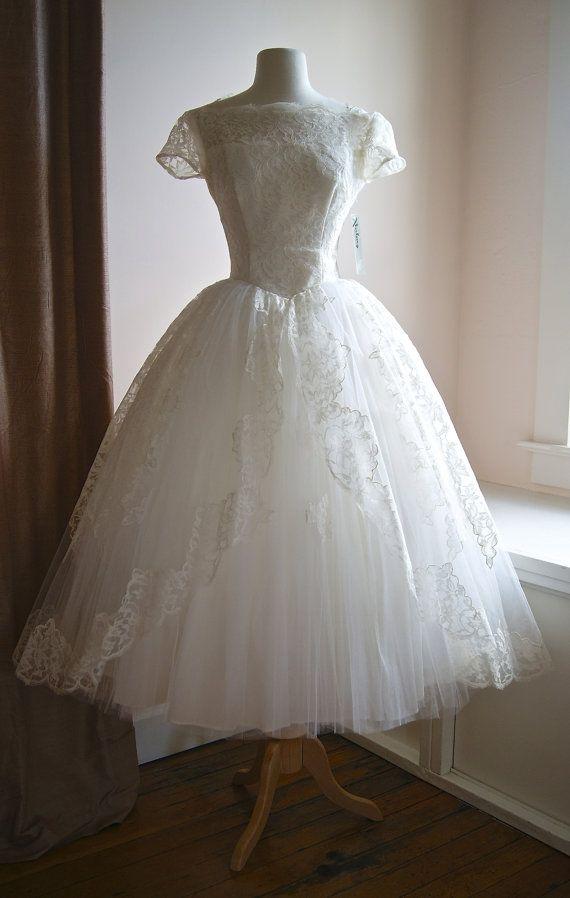 150afae7d33 50s Wedding Dress   Vintage 1950s Tea Length Lace and Tulle Cap Sleeve  Wedding Dress on Etsy
