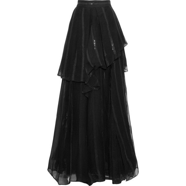 4db250d6a BRUNELLO CUCINELLI Layered sequin-embellished silk and tulle maxi... (£982)  ❤ liked on Polyvore featuring skirts, long layered skirt, long sequin skirts,  ...