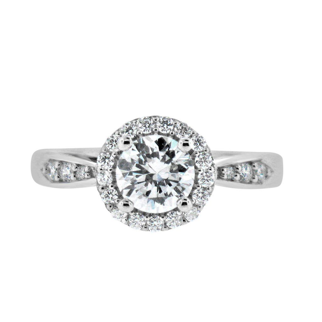 Simple Halo Engagement Ring with 1 Carat Cubic Zirconia – CZ Sparkle Jewelry®