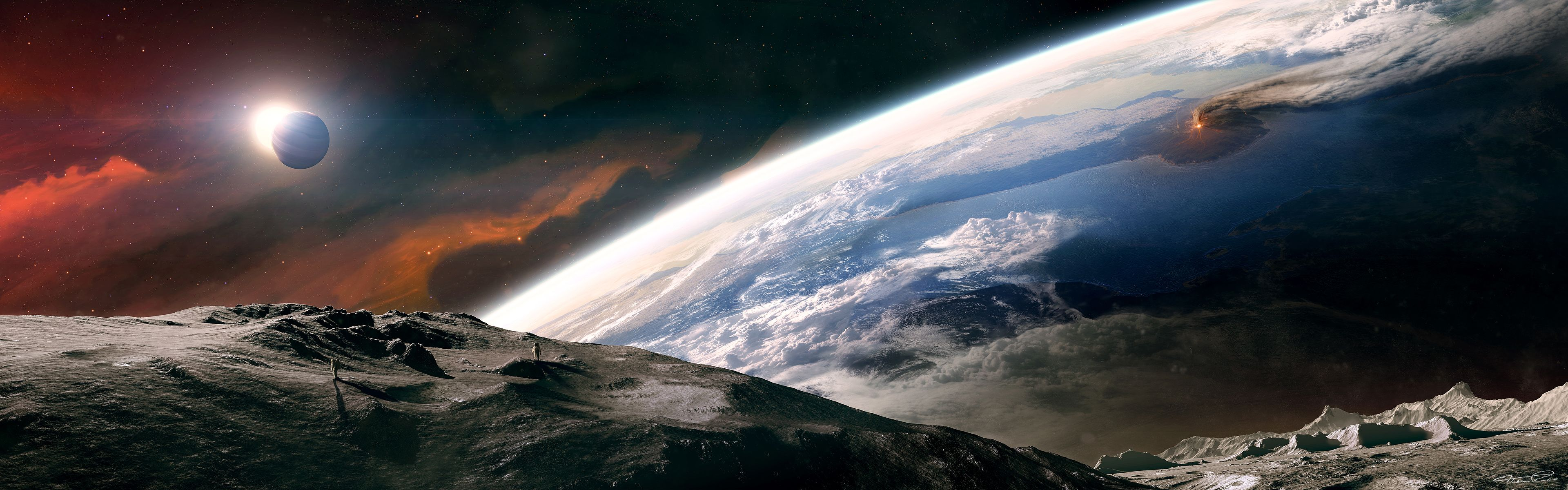 3d Space Scene Dual Screen Wallpaper 157366 Resolution