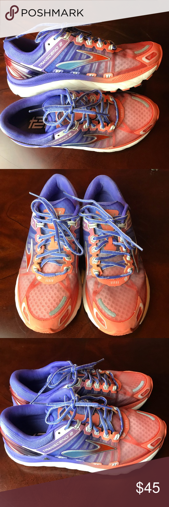 bb01bd455f89e Brooks Transcend 2 Running Shoes Brooks Transcend 2 Running Shoes  1201831B802 Fresh Salmon Blue Iris Silver Women s Size 8.5 Size  8.