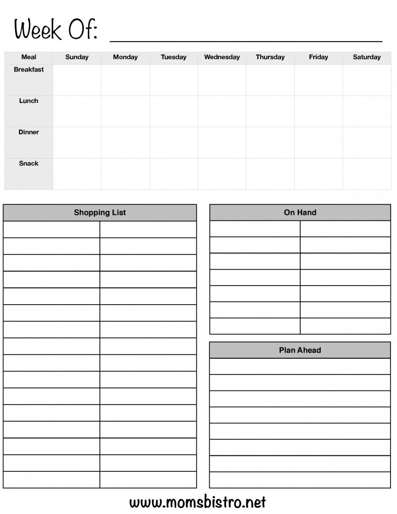 One Week Meal Planning Template With Grocery List   Plan Breakfast, Lunch,  Dinner And Snacks For Your Family