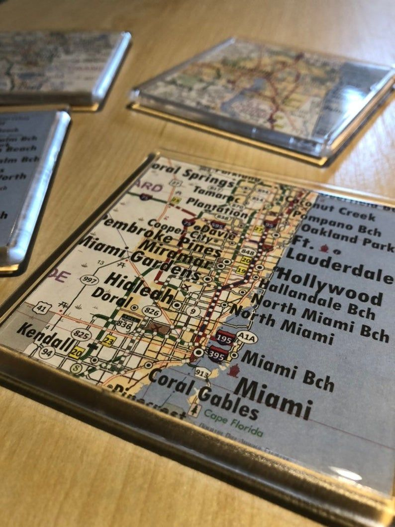 YOUR CITY YOUR state Custom Map Coasters Made from
