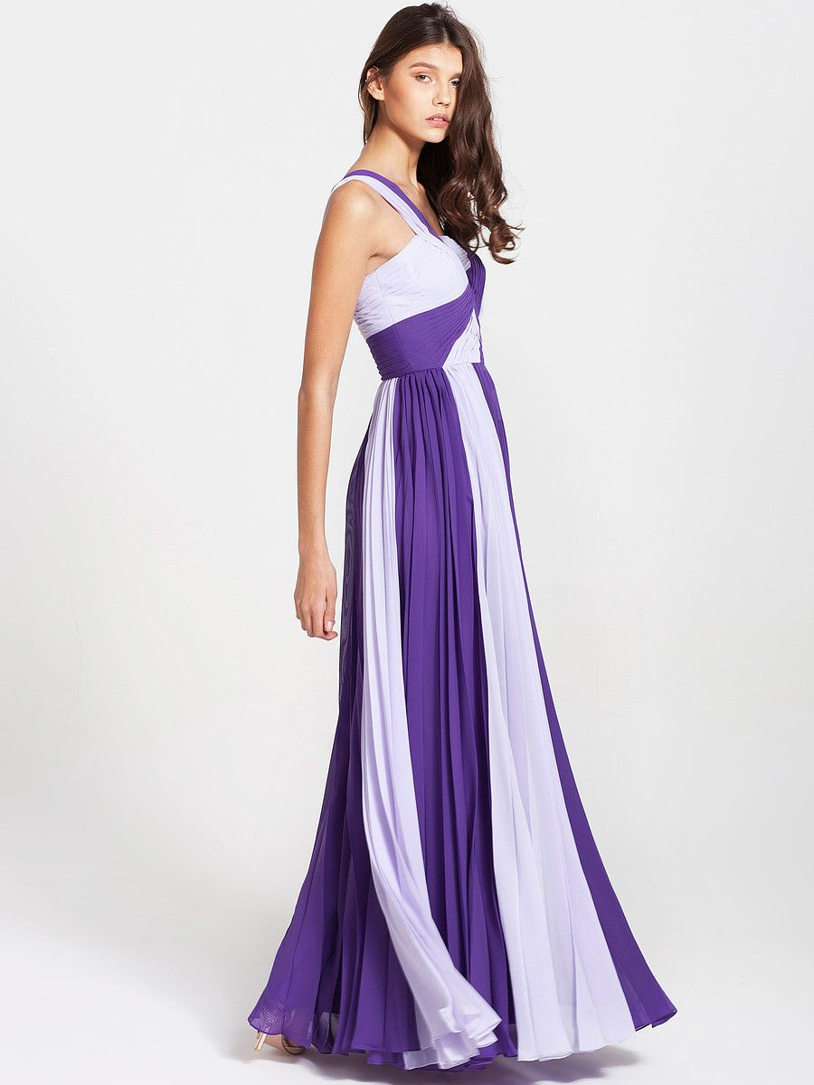 Ruffled Two Tone Dress Color Royal Purple Color Pastel Lilac
